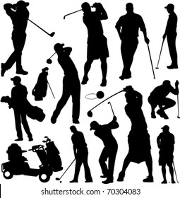Golf players and equipment silhouettes