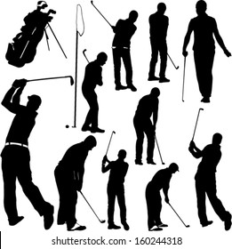 Golf players and equipment silhouettes - vector