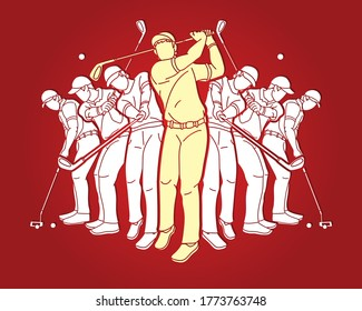 Golf players, Golfer action cartoon sport graphic vector.
