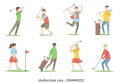 Golf players set. Cartoon people with brassies playing golf on lawn, having fun, enjoying activity. Vector illustration for golf club, hobby, sport, active lifestyle concept
