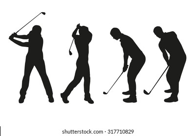 Golf players. Vector silhouettes set