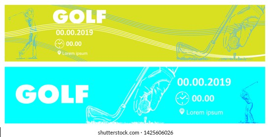 Golf poster or banner template. Minimal style
