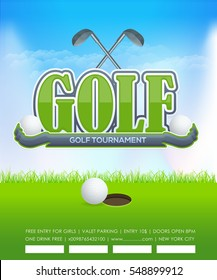 Golf Poster Event Info Postcard Design and Sports Ad Web Banner or Sports Card Template, Ball and Stick with Sport Vector Background and Nature Landscape Illustration