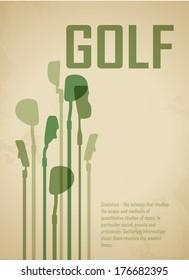 Golf poster. Postcard. Sport for gentlemen. Golf background - game time