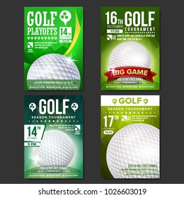 Golf Poster Set Vector. Design For Sport Bar Promotion. Golf Ball. Modern Tournament. Sport Event Announcement. Banner Advertising. Championship Template Illustration