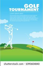 Golf poster template a4. Vector sport flyer