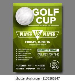 Golf Poster Vector. Golf Ball. Vertical Design For Sport Bar Promotion. Tournament, Championship Flyer Design. Club Flyer. Invitation Label Illustration