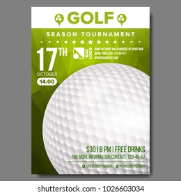 Golf Poster Vector. Banner Advertising. Sport Event Announcement. Ball. A4 Size. Announcement, Game, League Design. Championship Label Illustration