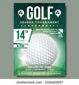 Golf Poster Vector. Sport Event Announcement. Banner Advertising. Professional League. Vertical Sport Invitation Template. Event Label Illustration