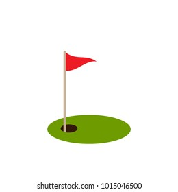 golf red flag on green grass and hole. Isolated on white background. Flat vector illustration. Sport concept. Goal achievement sign.