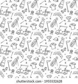 Golf seamless pattern - club, ball, flag, bag and golf cart in doodle style. Hand drawn vector illustration on white background