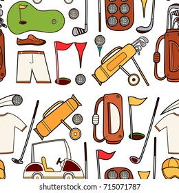 Golf seamless pattern in hand draw cartoon style. Golf equipment pattern