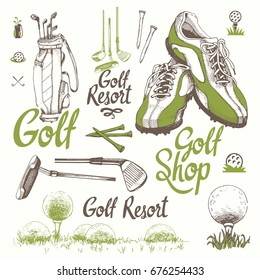 Golf set with basket, shoes, putter, ball, gloves, bag. Vector set of hand-drawn sports equipment. Illustration in sketch style on white background. Handwritten ink lettering.