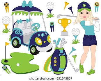 Golf set includes young girl playing golf, golf buggy, accessories and trophy. Golf vector illustration.