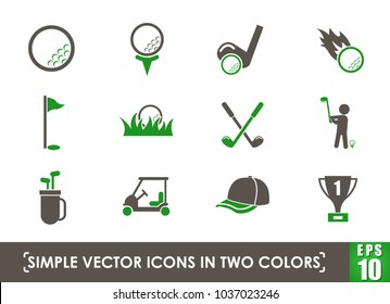 golf simple vector icons in two colors