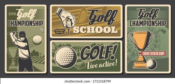 Golf sport championship cup and golfer school vintage retro vector posters. Professional golf club tournament, ball and stick on green course, hobby and sport activity
