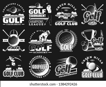 Golf sport club and championship or league tournament icons. Vector golf team academy badges of ball and stick, putter green and victory champion cup, tee and caddy cart