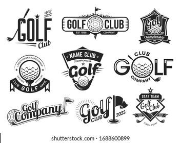 Golf sport club labels, team championship signs