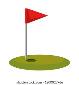 golf sport flag isolated icon