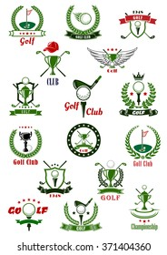 Golf sport game icons and symbols with ribbons, banners, golf club and ball, sport trophy, laurel wreath and shields. For golf sport tournament design