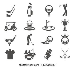 Golfsport Spiel Vektorbrillen Symbole Set. Silhouettensymbolen von Clubhead und Bälle. Golf Meisterschaft, professionelle Kleidung für das Spiel isolierter Video-Kunstsammlung. Designelemente für Unterhaltungsaktivitäten