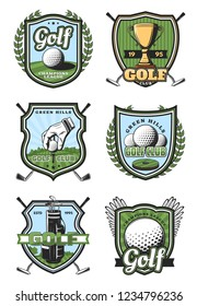 Golf sport heraldic icons and symbols with crossed sticks and ball, gold trophy cup and white glove. Royal game and sport items, professional supreme league signs, tournament or competition symbols