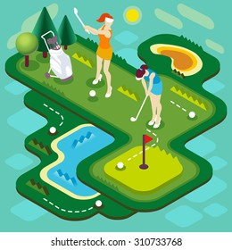 Golf Sport Match Concept Interacting People Unique Isometric Realistic Poses 3D Flat Vector Illustration Golf Club Players Stroke Ball Course Professional Competition Sportswoman Image Drawing