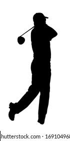 Golf Sport Silhouette �¢?? Golfer finished hitting Tee-shot
