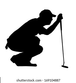 Golf Sport Silhouette - Golfer kneeling judging putting angle