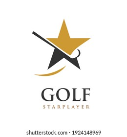 Golf Star Player Logo a Golf Stick and Star Symbol