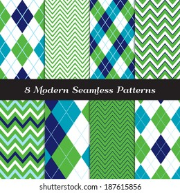 Golf Style Chevron and Argyle Seamless Patterns in Grass Green, Navy, Blue and White with Sky Blue Stripes. Pattern Swatches made with Global Colors - easy to change all patterns in one click.