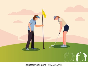 Golf teacher teaches Girl to play golf with golf clubs on green grass, cartoon, silhouettes, bundle vector illustration. character in different position.