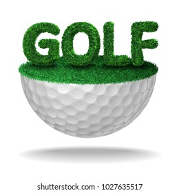 Golf text textured with grass on half golf ball with grass. Vector isolated illustration