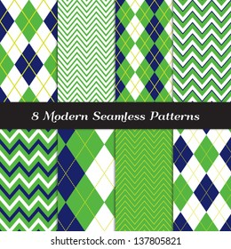 Golf Theme Chevron and Argyle Patterns in Grass Green, Navy Blue and White with Lime Stripe. Pattern Swatches made with Global Colors - easy to change all patterns in one click.