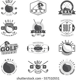 Golf Tournament black monochrome badges set. Retro collection of golf club logo and emblems. Vector illustration.