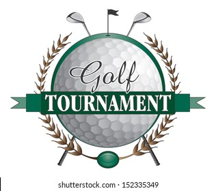 Golf Tournament Clubs Design is an illustration of a golf tournament design. Contains golf clubs and golf ball and a green background with flag and hole.