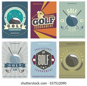 Golf Tournament colored posters set. Flyer collection for golf club, vector illustration