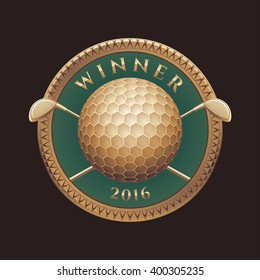 Golf tournament, competition vector logo, sign, symbol, emblem. Golden trophy, prize, design element with two golf putters as crest and ball