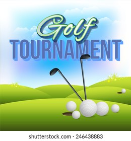 Golf Tournament Concept Flyer, Poster, Ad Design Vector Template