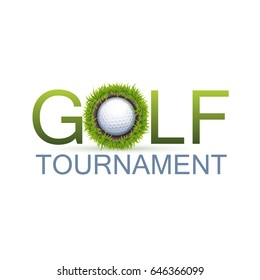 Golf Tournament Design Concept With The Realistic Hole In One.