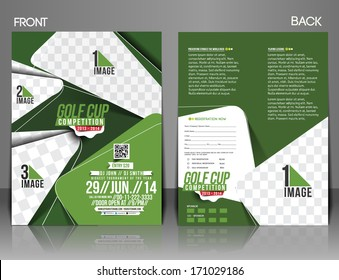 golf tournament front back flyer template stock vector royalty free