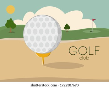 Golf tournament with green golf field. Putter golf club and ball lying on field lawn near flag in hole.