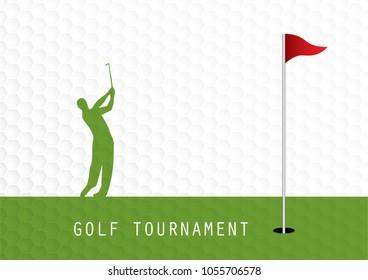Golf tournament invitation flyer template graphic design. Golfer swinging on golfball on golf ball pattern texture.