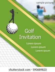 Golf tournament invitation flyer template graphic design. Golfer swinging on golfball on golf ball pattern texture with sample picture.