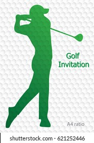 Golf tournament invitation flyer template vector graphic design. Golfer swinging on golf ball pattern texture. A4 ratio.