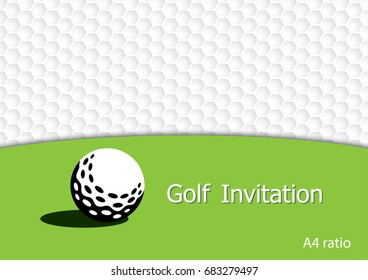 Golf tournament invitation flyer template vector graphic design. A4 ratio.