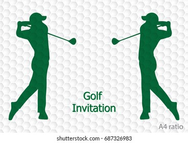 Golf tournament invitation flyer template graphic design. Golfer swinging on golfball on golf ball pattern texture. A4 ratio.