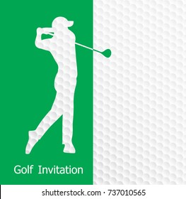 Golf tournament invitation flyer template graphic design. Golfer swinging on golf ball pattern texture.