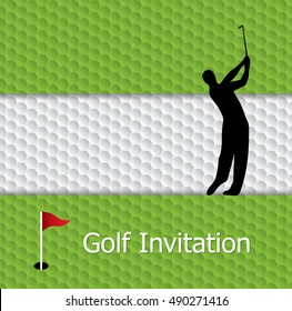 Golf tournament invitation graphic design. Golf green, flag and hole on golf ball pattern texture. And silhouette golfer swinging.