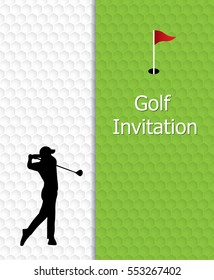 Golf tournament invitation graphic design. Flag and hole on golf ball pattern texture. And silhouette golfer swinging.
